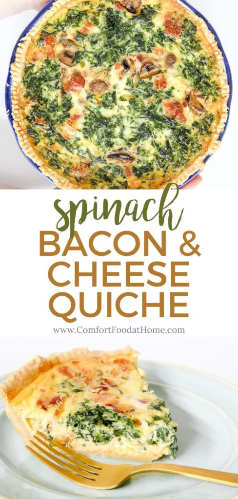 Delicious Bacon & Cheese Quiche with Spinach