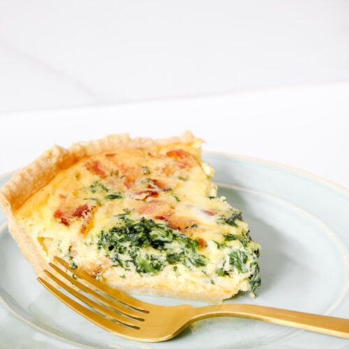 Bacon And Cheese Quiche with Spinach
